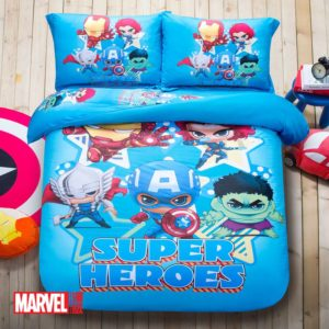 Marvel Super Heroes Kids Comics Blue Color Bedding Set