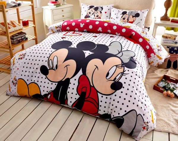 Mickey Minnie Mouse Polka Dot Bedding Set 3