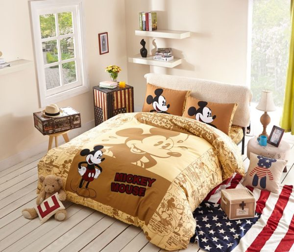 Mickey Mouse Brown Bedding Set 1 600x515 - Mickey Mouse Brown Bedding Set
