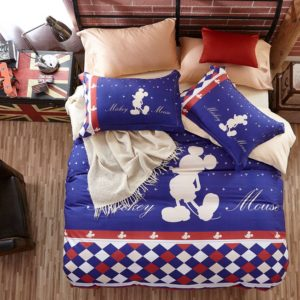 Mickey Mouse Silhouette Checkered Pattern Bedding Set