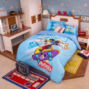 Mickey Mouse Skateboarding Light Blue Bedding Set