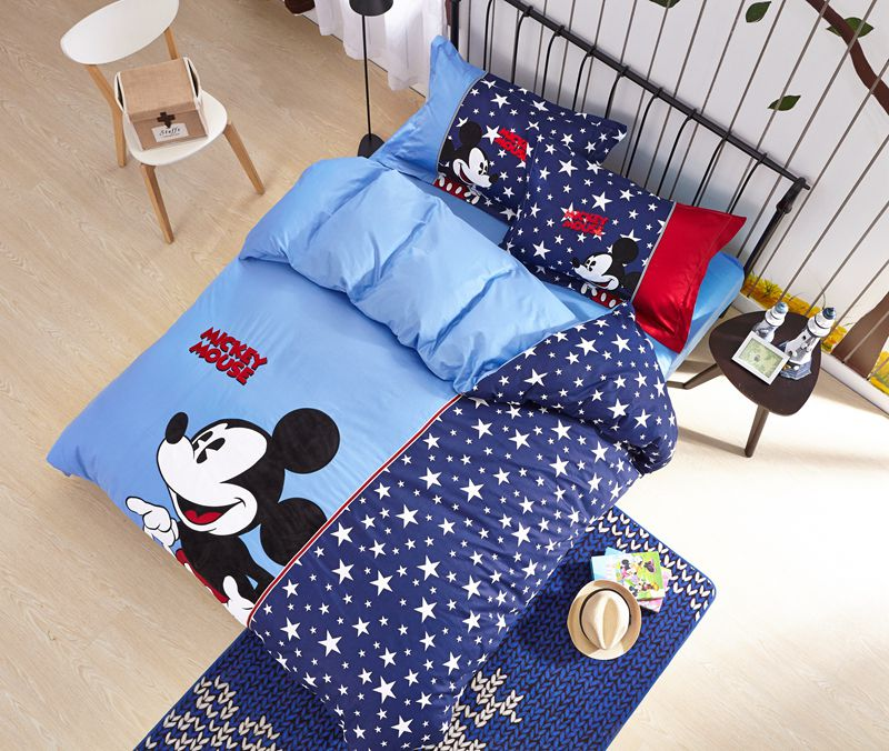mickey mouse boys queen size embroidery bedding set ebeddingsets. Black Bedroom Furniture Sets. Home Design Ideas