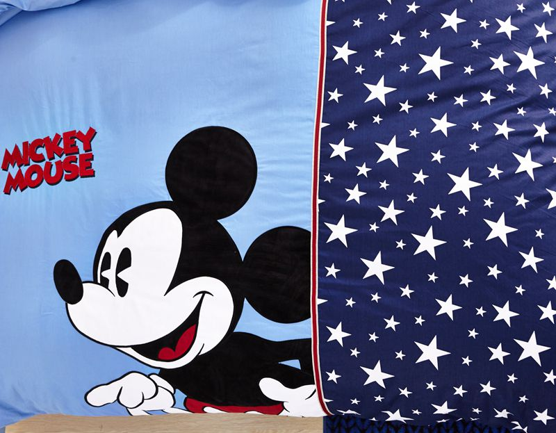 Mickey Mouse Boys Queen Size Embroidery Bedding Set