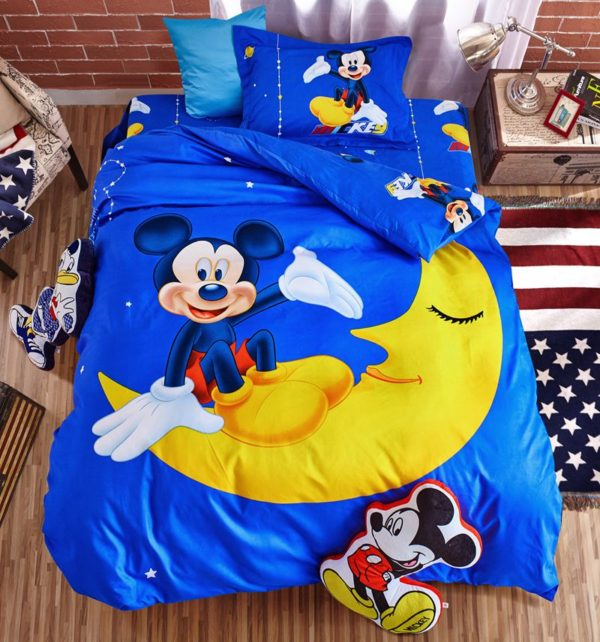 Mickey and Minnie Mouse In The Moon Bedding Set