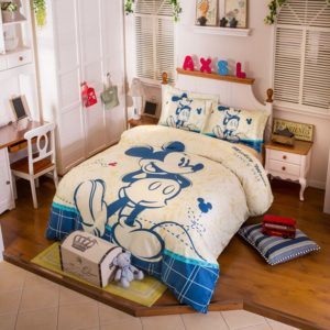Stencil Art Mickey Mouse Cornsilk Color Bedding Set