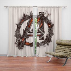 Avengers Logo Print Curtain