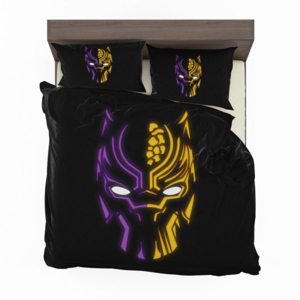 Black Panther Illustration Neon Bedding Set2