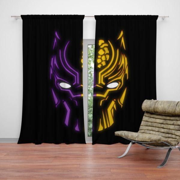 Black Panther Illustration Neon Curtain