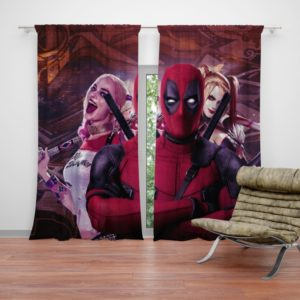 Deadpool and Harley Quinn Artwork Curtain