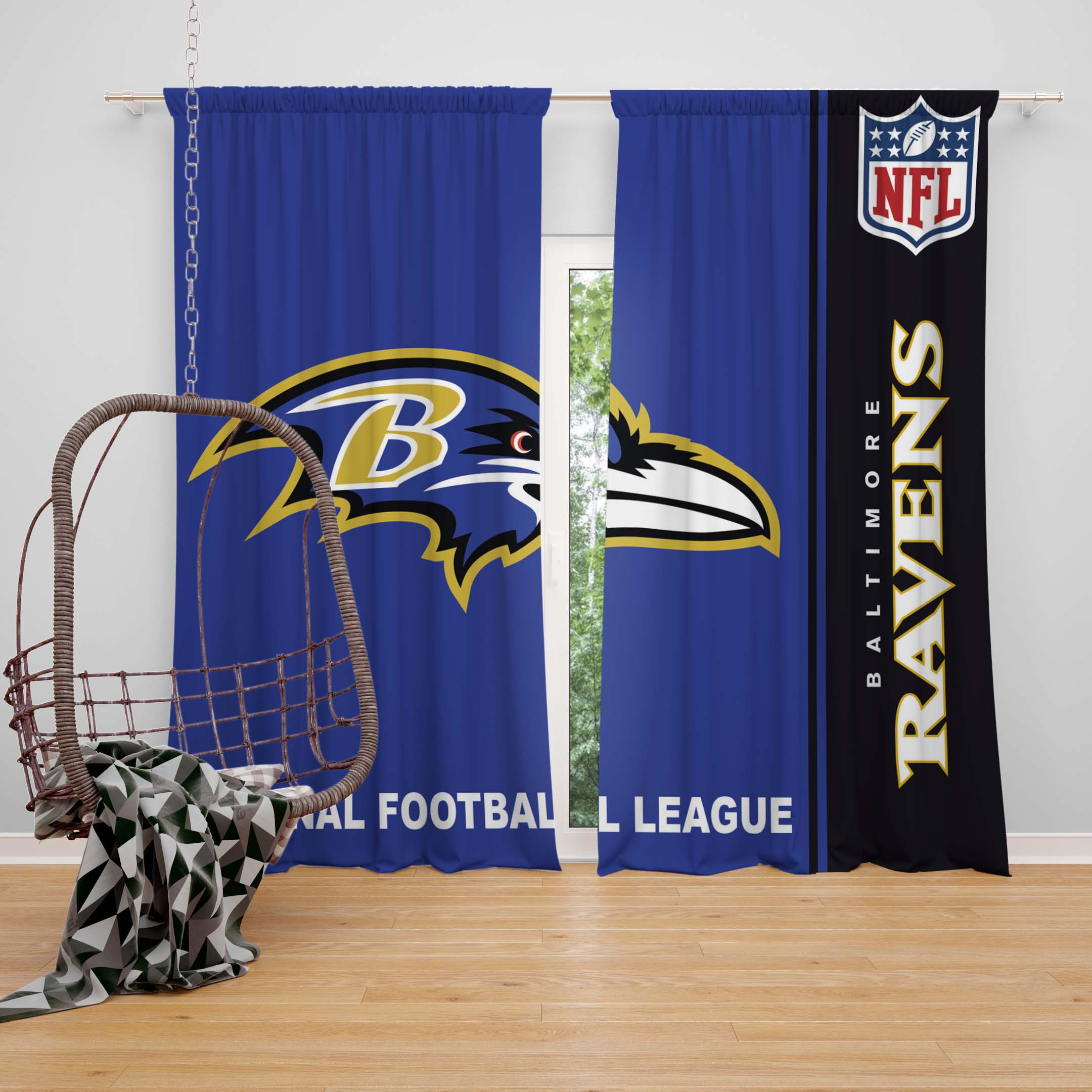 NFL Baltimore Ravens Bedroom Curtain