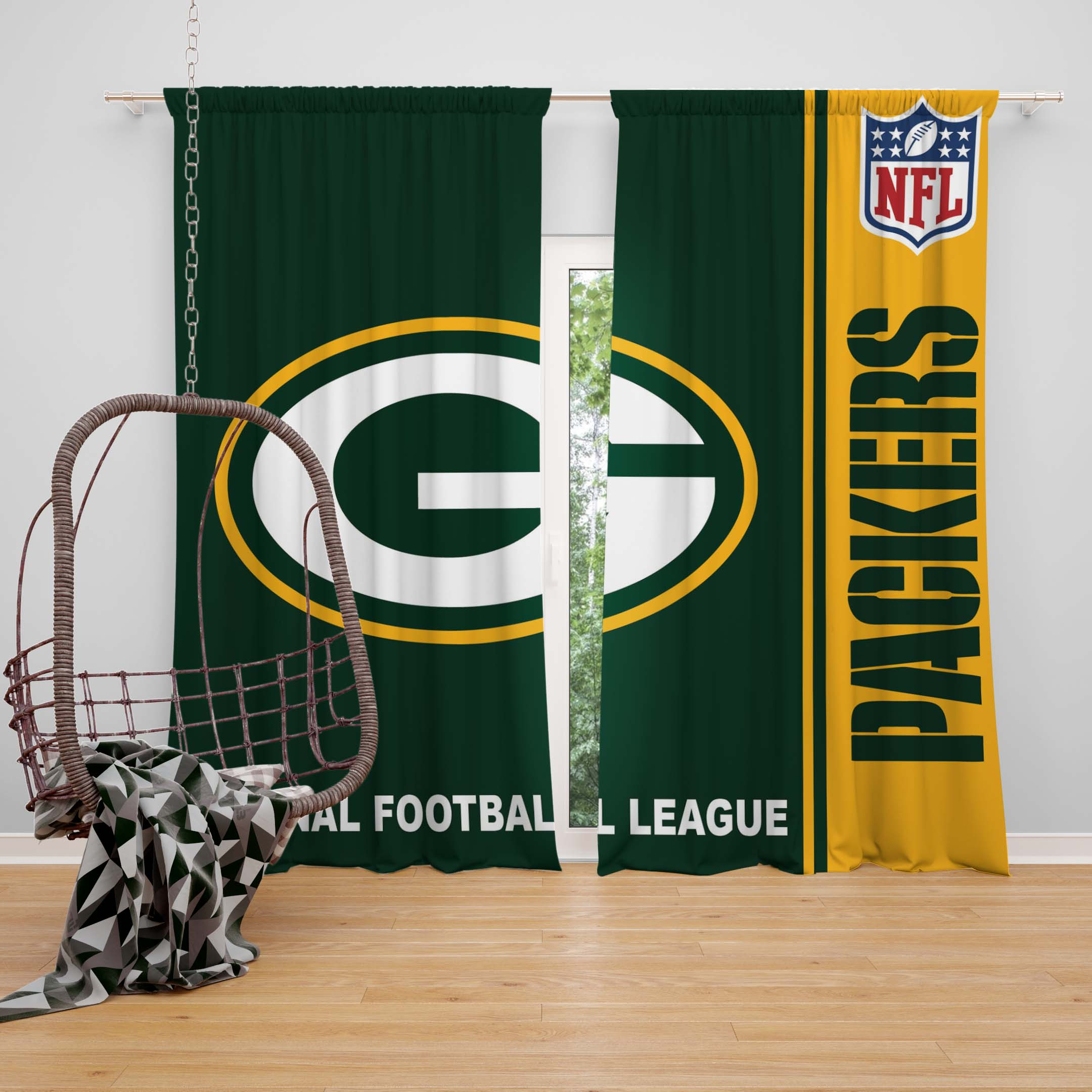 Attractive NFL Green Bay Packers Bedroom Curtain