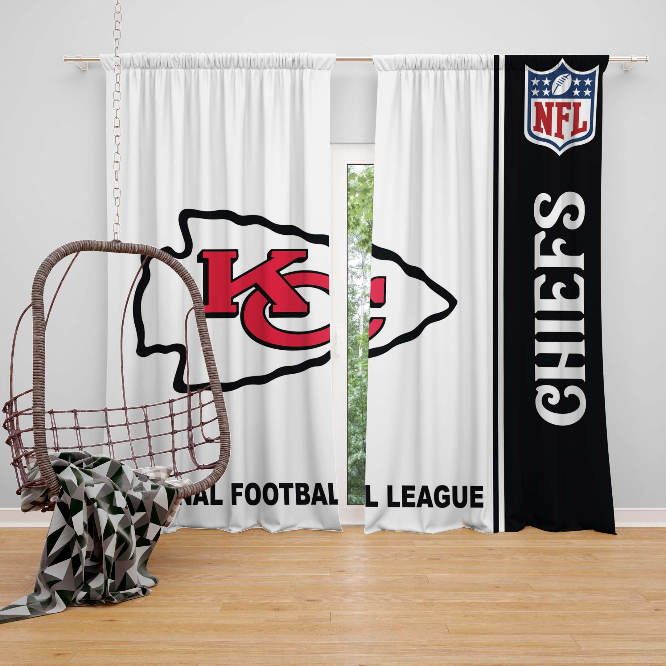 NFL Kansas City Chiefs Bedroom Curtain