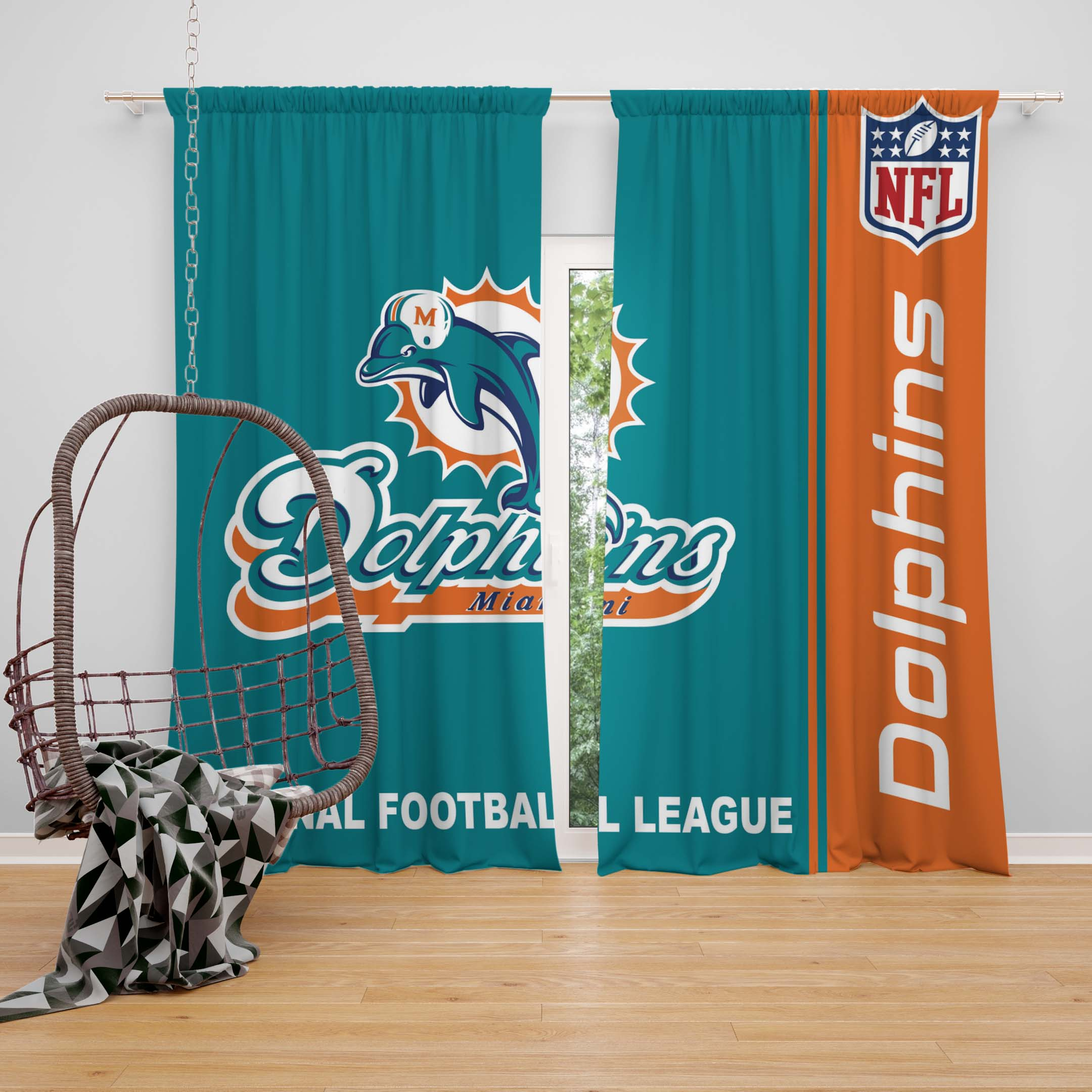 Nfl Miami Dolphins Bedroom Curtain Ebeddingsets