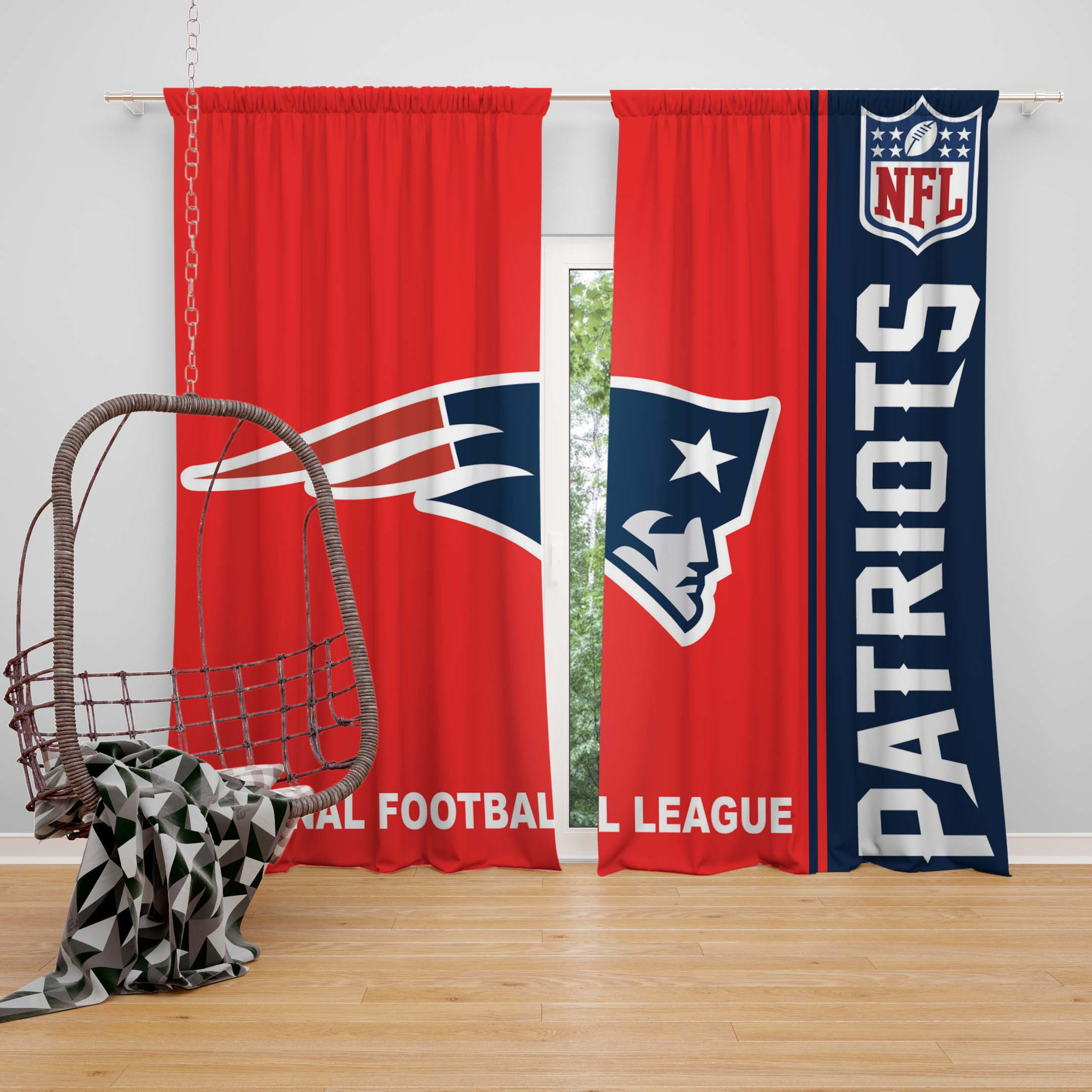 Beau NFL New England Patriots Bedroom Curtain