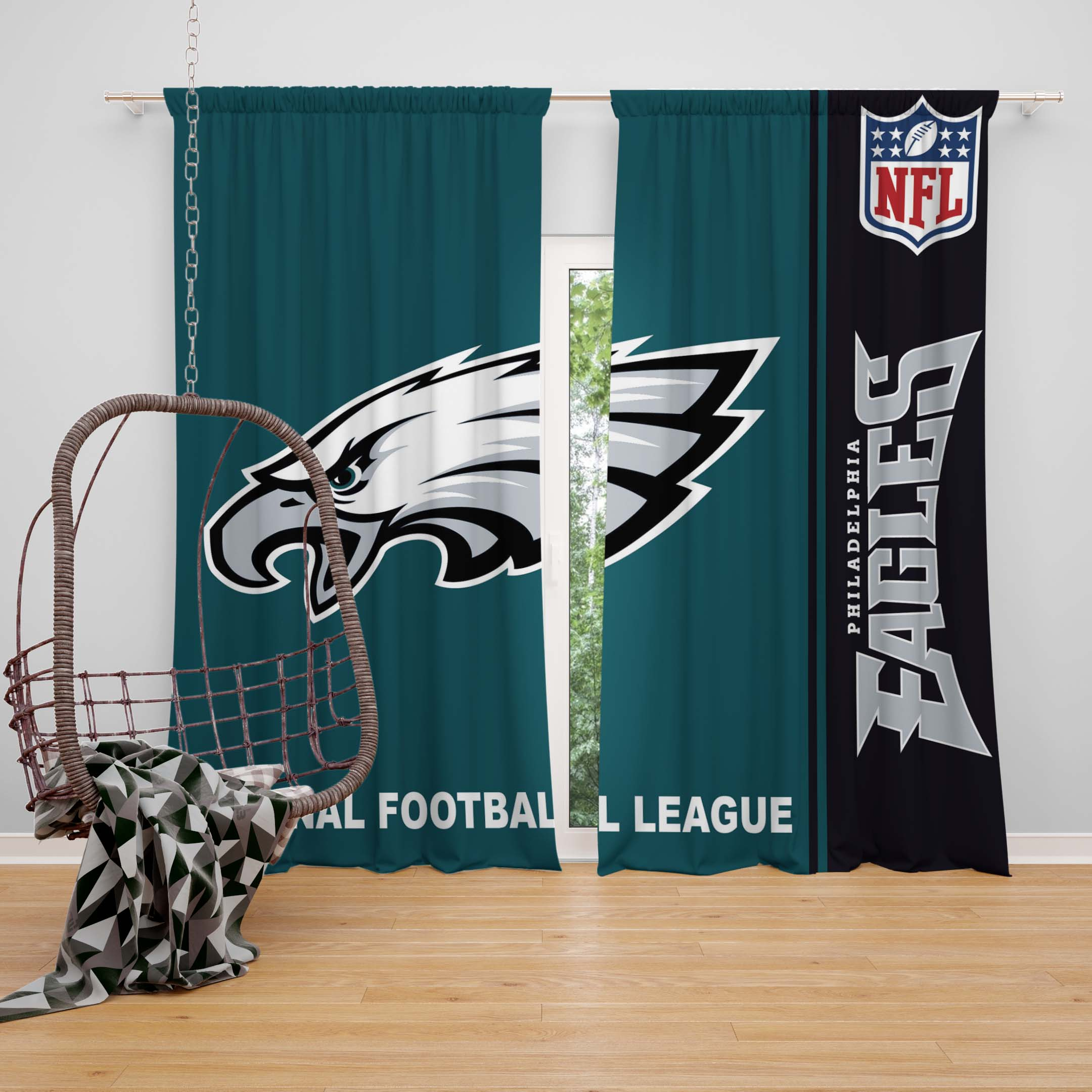 Superb NFL Philadelphia Eagles Bedroom Curtain