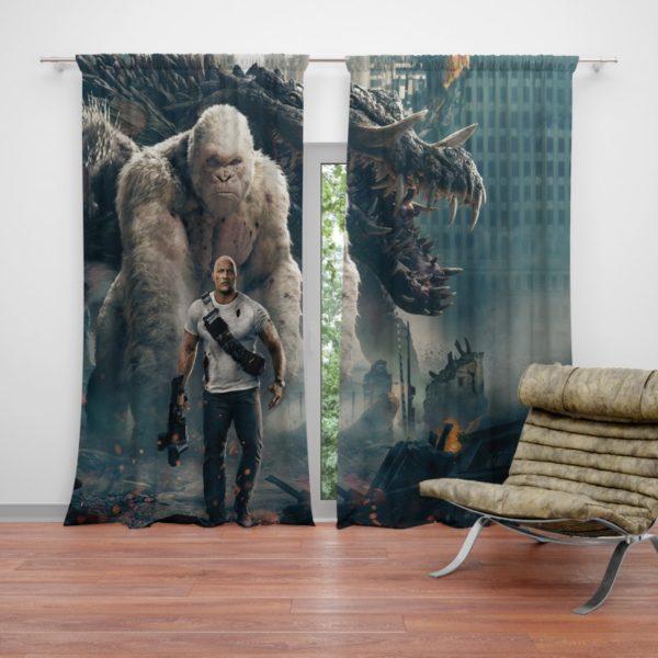 Rampage Dwayne Johnson White Gorilla Curtain