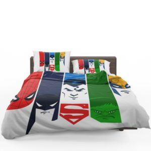 Superheroes Spider Man Batman Superman Hulk Wolverine Bedding Set