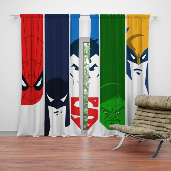 Superheroes Spider Man Batman Superman Hulk Wolverine Curtain