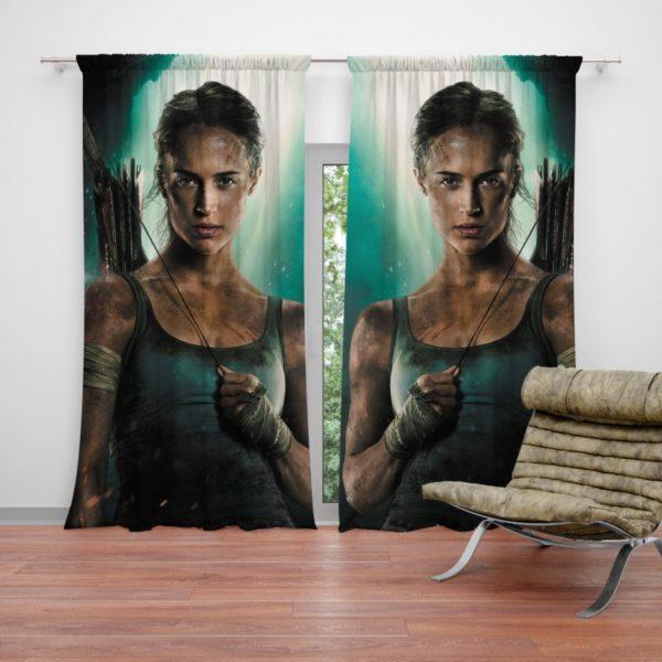 Tomb Raider Alicia Vikander Lara Croft Curtain