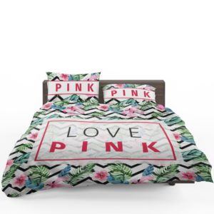 VS Love Pink Modern Pattern with Tropical Watercolor Flowers Bedding Set (3)