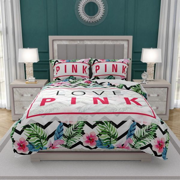VS Love Pink Modern Pattern with Tropical Watercolor Flowers Bedding Set