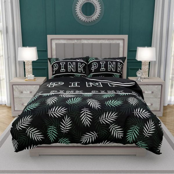 VS Pink Pattern with Green and White Palm Leaves Bedding Set