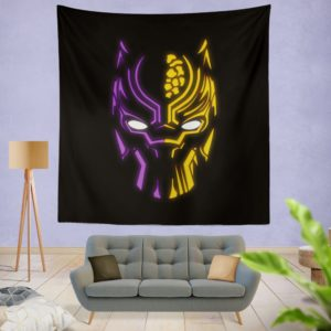 Black Panther Illustration Neon Wall Hanging Tapestry