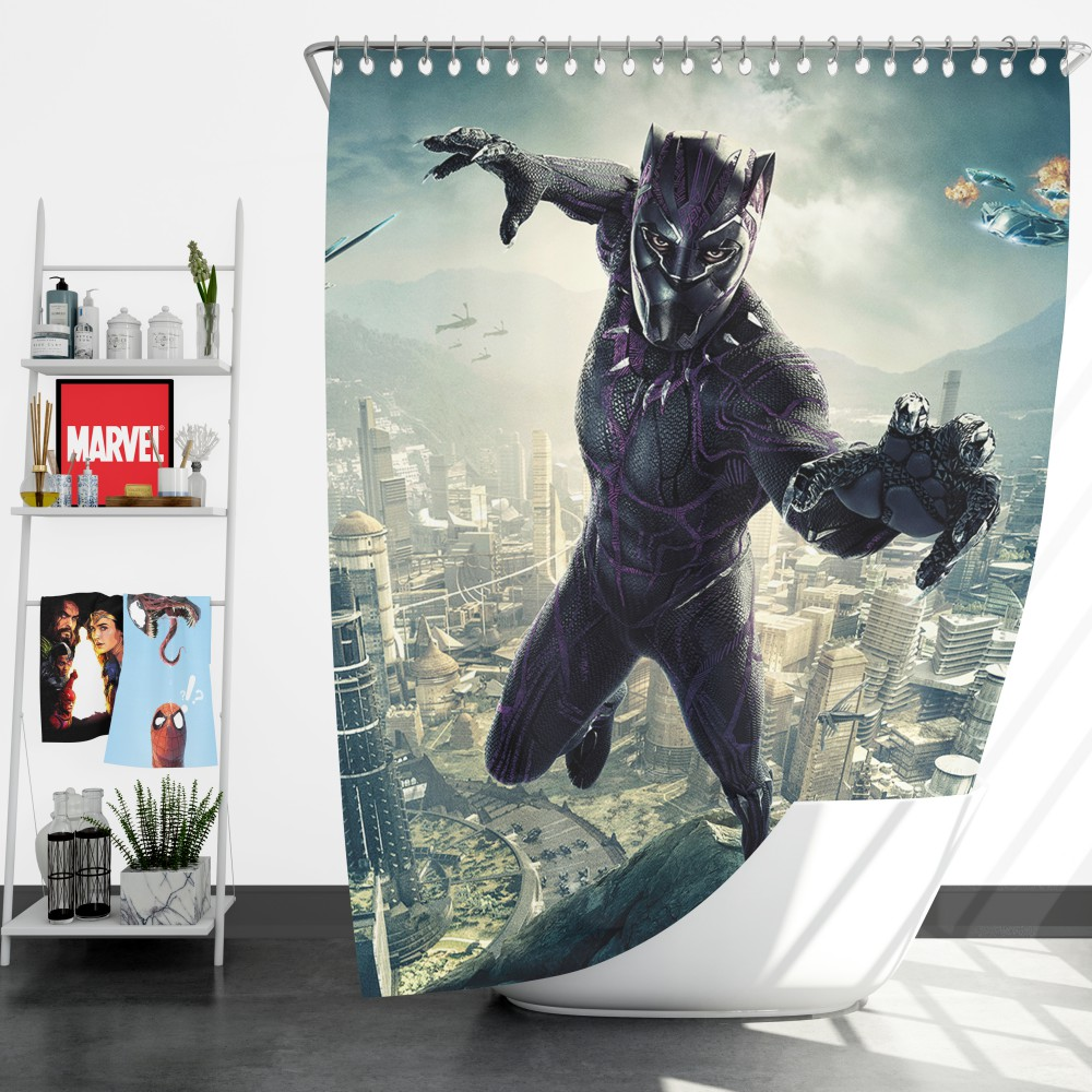 Magnificent Black Panther Kids Teen Shower Curtain Bralicious Painted Fabric Chair Ideas Braliciousco