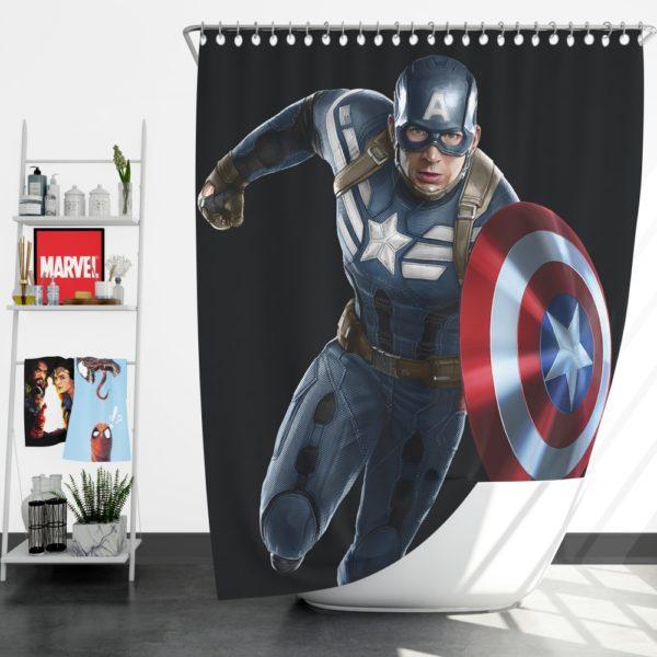 Captain America Superheroes Marvel Comics Shower Curtain
