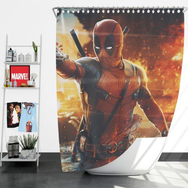 Deadpool Artwork Super Hero Shower Curtain