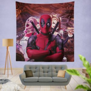 Deadpool and Harley Quinn Artwork Wall Hanging Tapestry