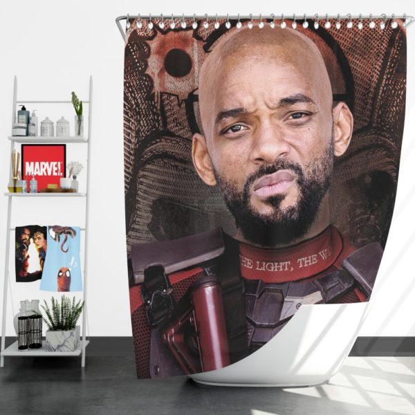 Deadshot Suicide Squad Movie Will Smith Shower Curtain