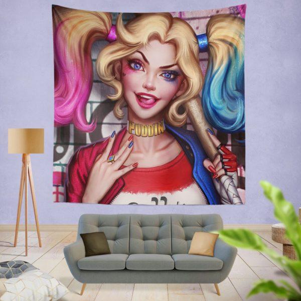 Harley Quinn DC Comics Artwork Wall Hanging Tapestry