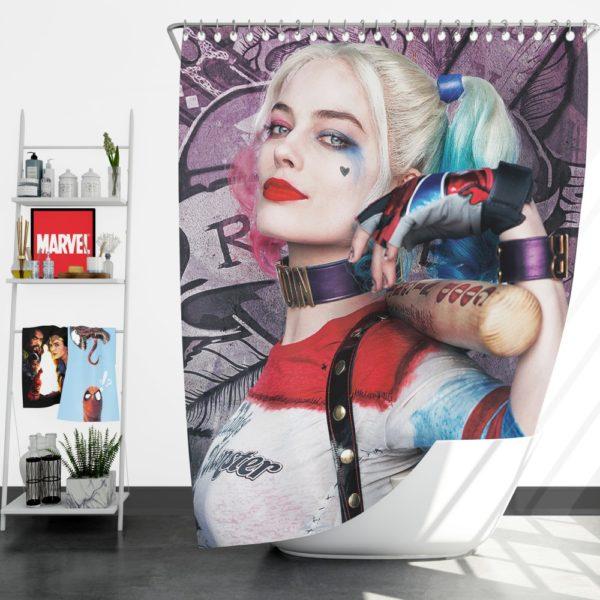Harley Quinn Suicide Squad Margot Robbie Shower Curtain