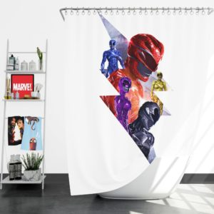 Power Rangers 5 Movie Themed Shower Curtain