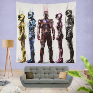 Power Rangers 5 Samurai Movie Wall Hanging Tapestry