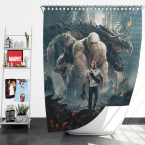 Rampage Dwayne Johnson White Gorilla Shower Curtain