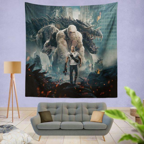 Rampage Dwayne Johnson White Gorilla Wall Hanging Tapestry
