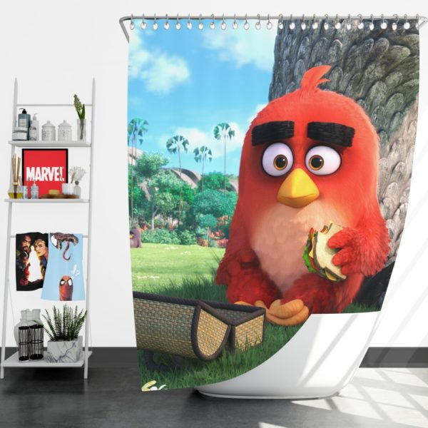 Red Angry Birds Movie Shower Curtain