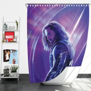 Sebastian Stan Bucky Barnes White Marvel Avenger Shower Curtain