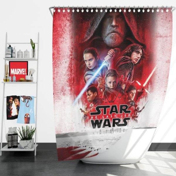 Star Wars The Last Jedi Movie Themed Shower Curtain