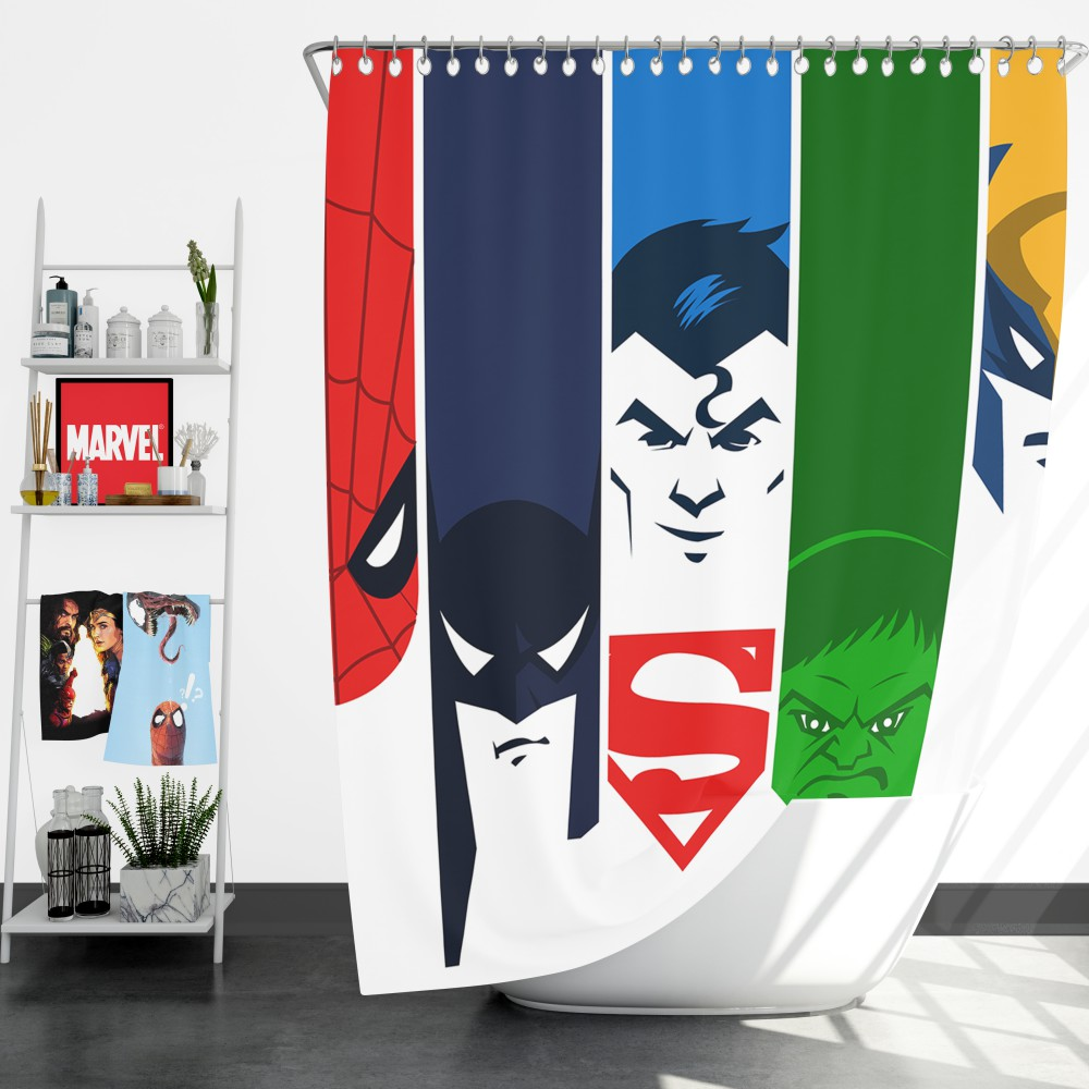 Superheroes Spider Man Batman Superman Hulk Wolverine Shower Curtain