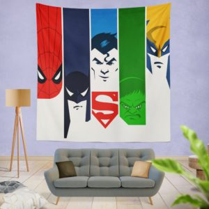 Superheroes Spider Man Batman Superman Hulk Wolverine Wall Hanging Tapestry