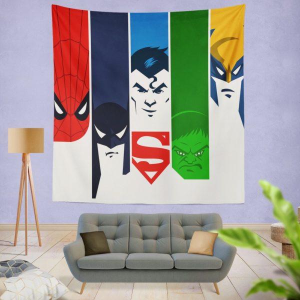 Superheroes Spider Man Batman Superman Hulk Wolverine Wall Hanging Tapestry