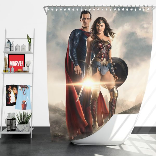Superman And Wonder Woman Shower Curtain