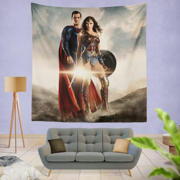 Superman And Wonder Woman Wall Hanging Tapestry