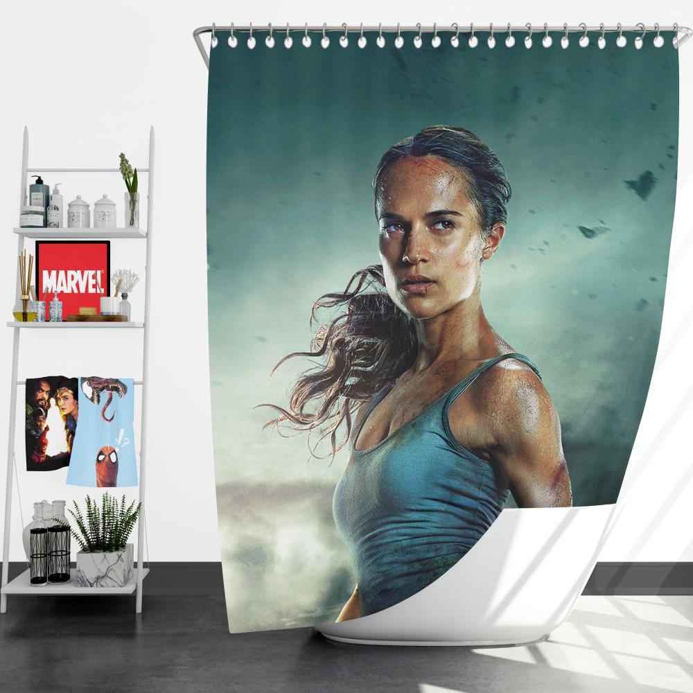 Tomb Raider Alicia Vikander Lara Croft Bath Shower Curtain