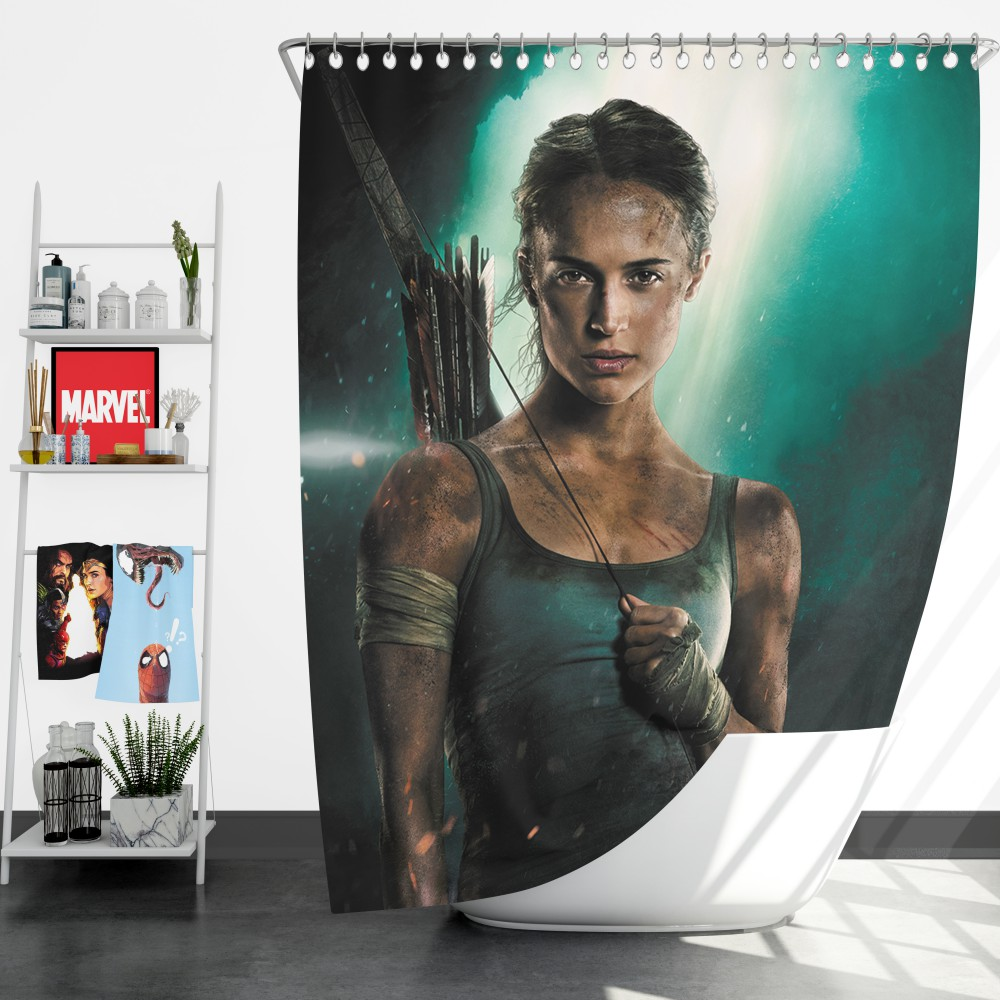 Tomb Raider Alicia Vikander Lara Croft Shower Curtain