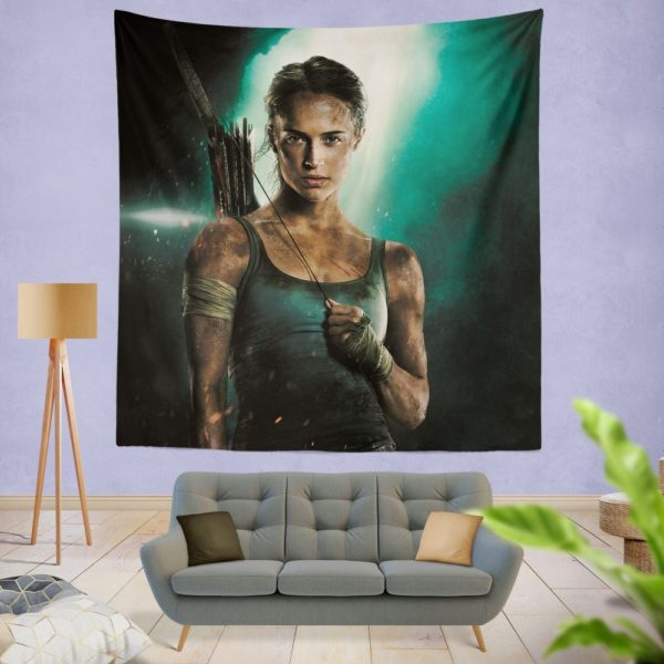 Tomb Raider Alicia Vikander Lara Croft Wall Hanging Tapestry