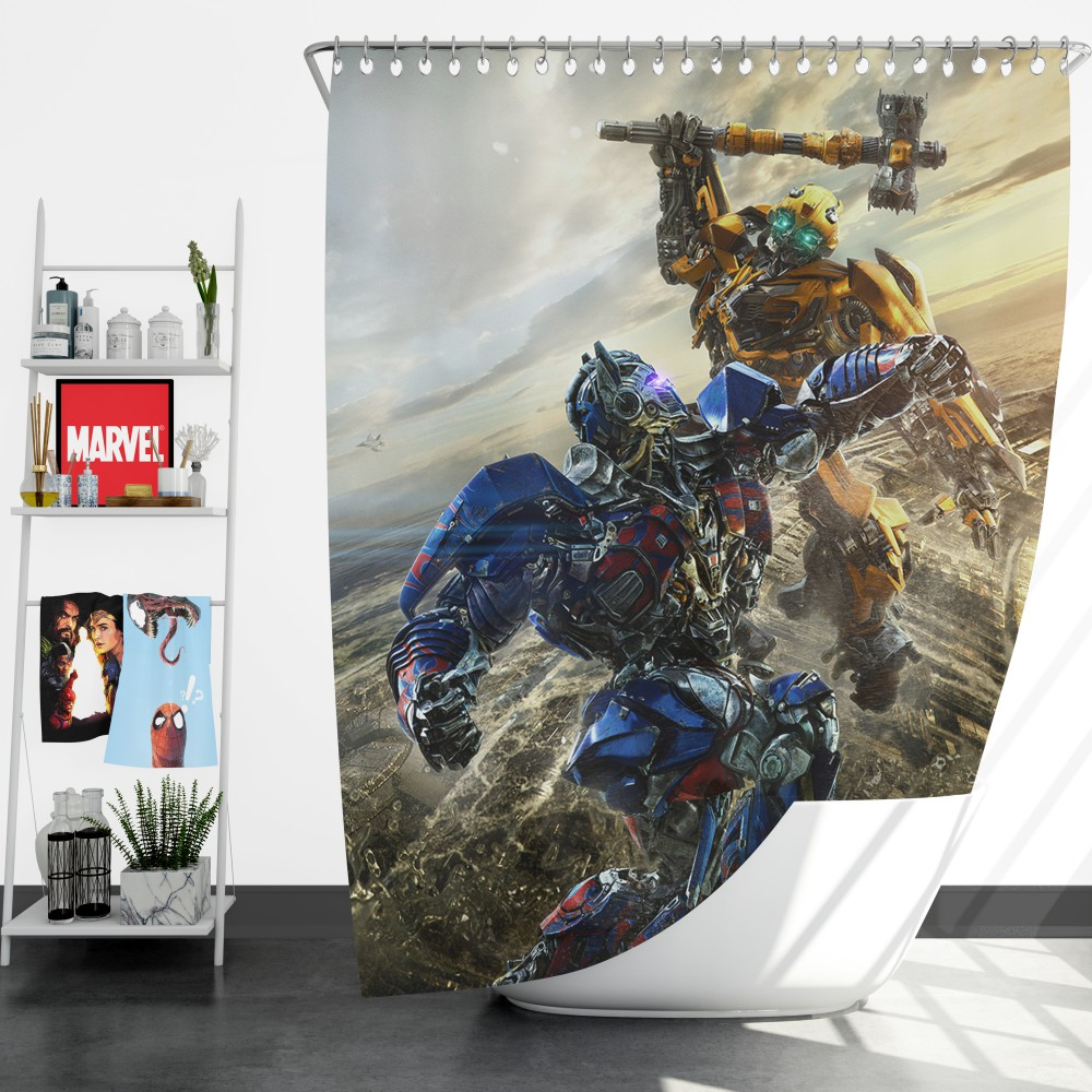 Transformers Bumblebee Optimus Prime Fight Shower Curtain